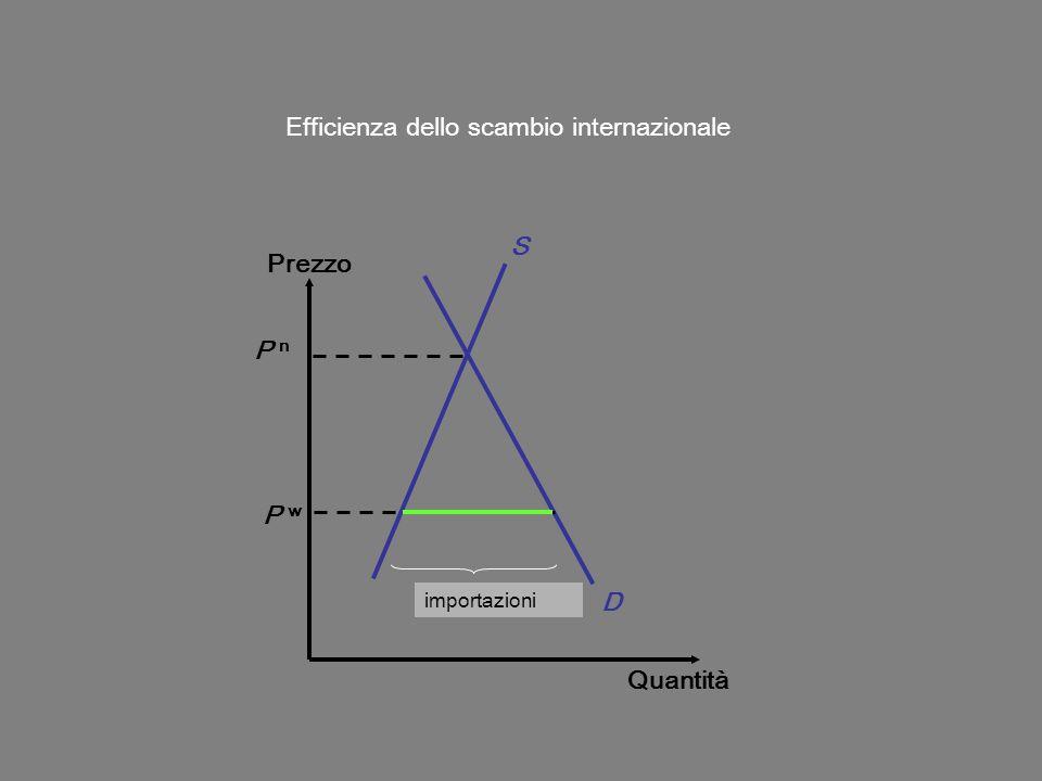 Prezzo Quantità D S P w Efficienza dello scambio internazionale P n squilibrio importazioni