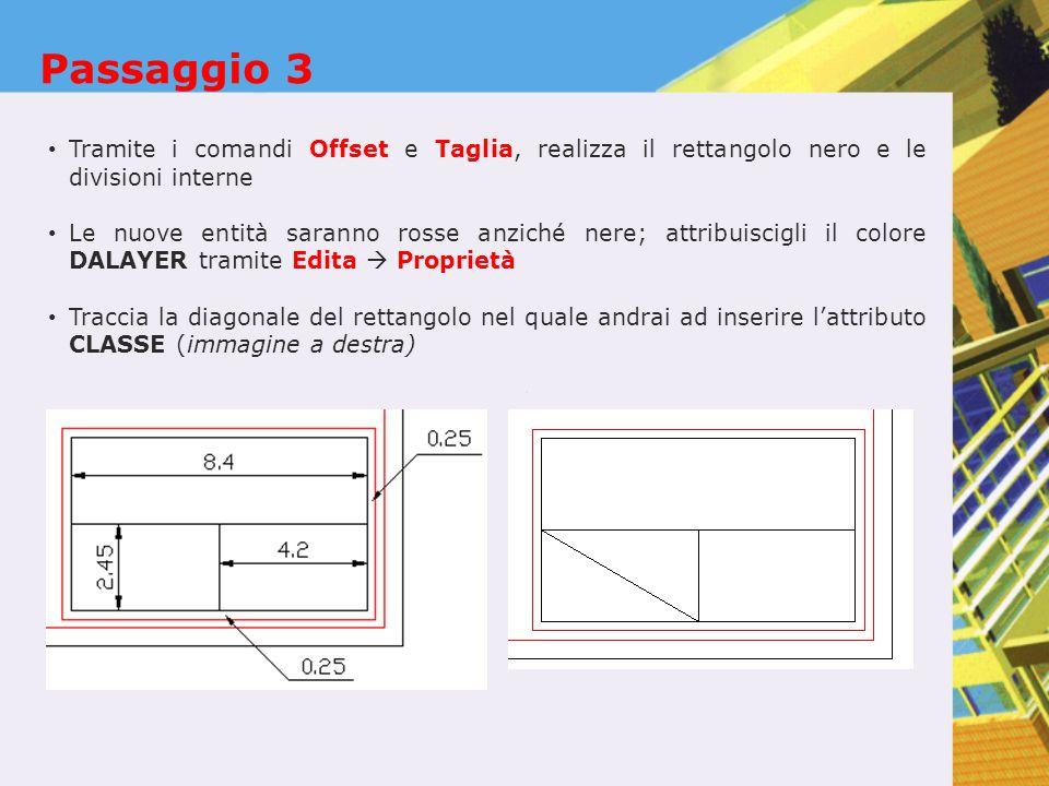 Passaggio 3 Tramite i comandi Offset e Taglia, realizza il rettangolo nero e le divisioni interne Le nuove entità saranno rosse anziché nere; attribuiscigli il colore DALAYER tramite Edita  Proprietà Traccia la diagonale del rettangolo nel quale andrai ad inserire l'attributo CLASSE (immagine a destra)