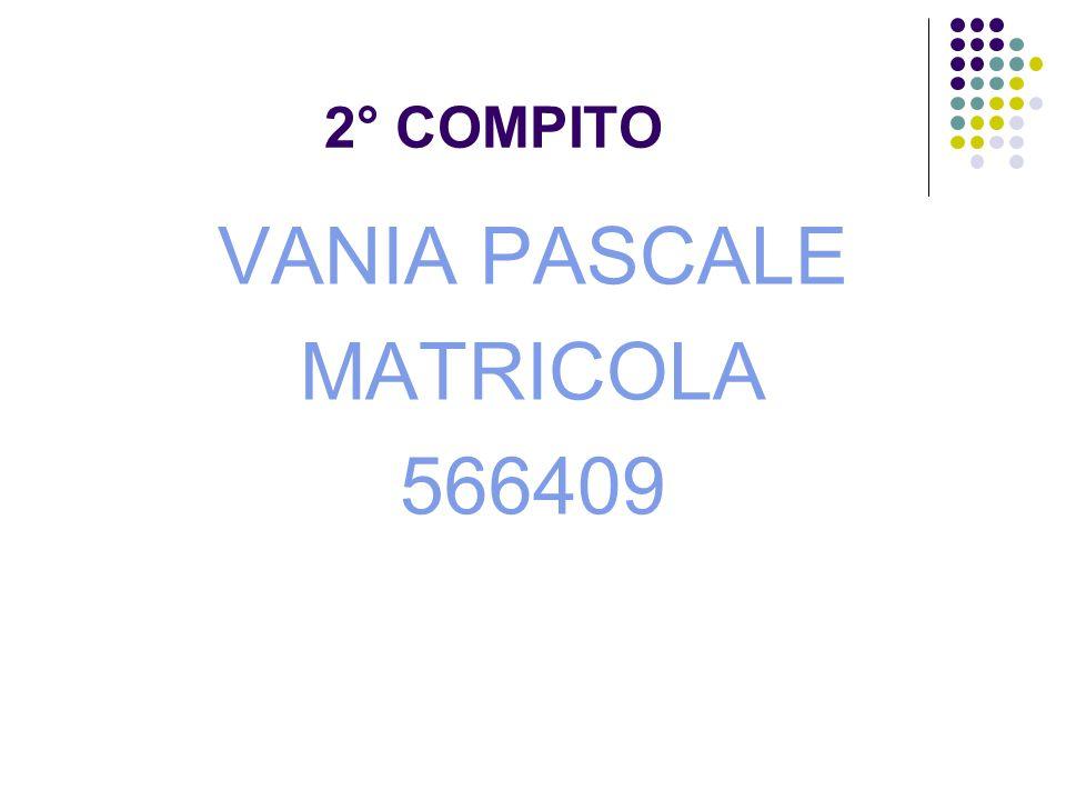 2° COMPITO VANIA PASCALE MATRICOLA 566409