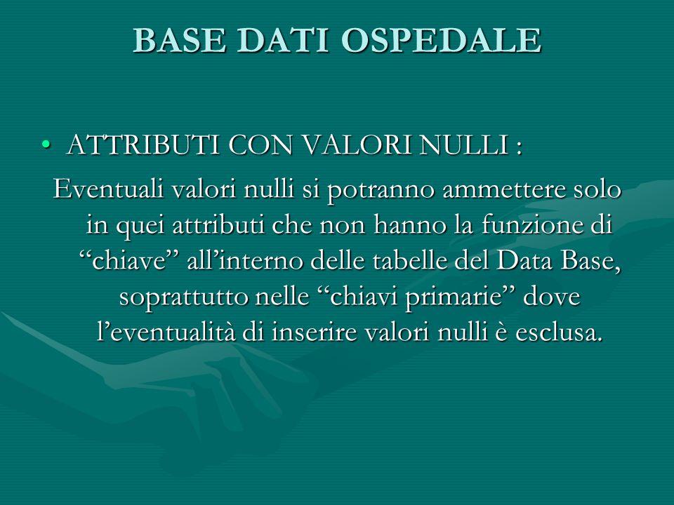 BASE DATI OSPEDALE ATTRIBUTI CON VALORI NULLI :ATTRIBUTI CON VALORI NULLI : Eventuali valori nulli si potranno ammettere solo in quei attributi che non hanno la funzione di chiave all'interno delle tabelle del Data Base, soprattutto nelle chiavi primarie dove l'eventualità di inserire valori nulli è esclusa.