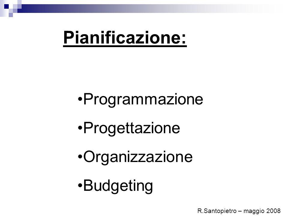 Pianificazione: Programmazione Progettazione Organizzazione Budgeting R.Santopietro – maggio 2008