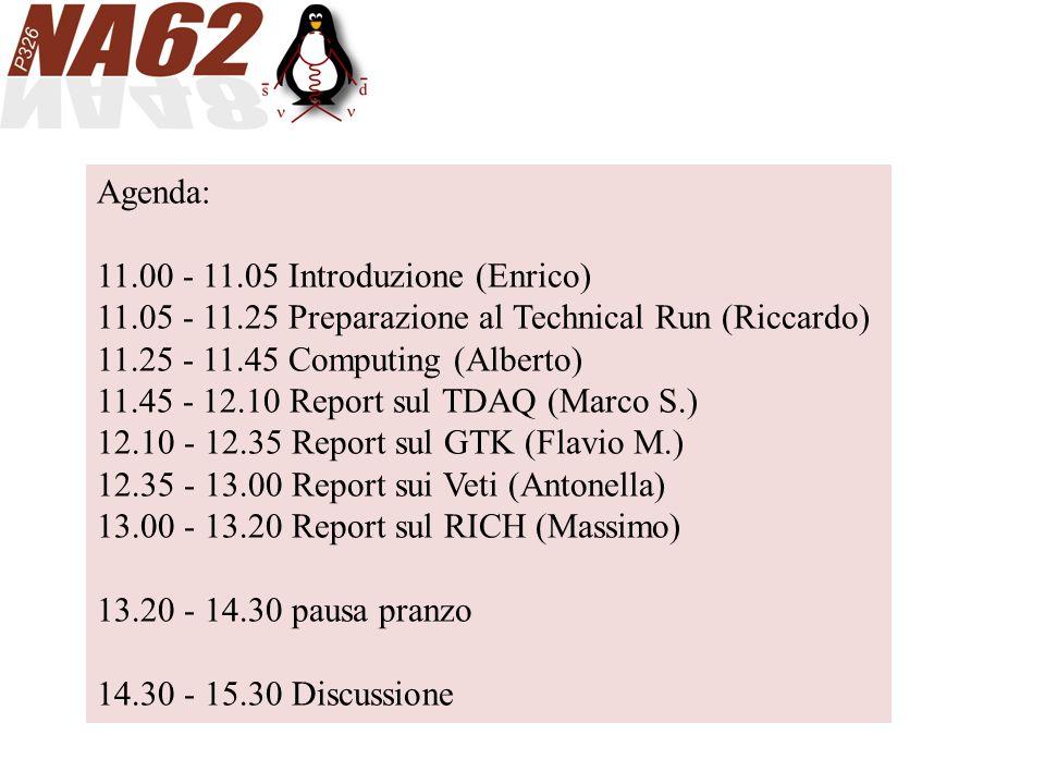 Agenda: 11.00 - 11.05 Introduzione (Enrico) 11.05 - 11.25 Preparazione al Technical Run (Riccardo) 11.25 - 11.45 Computing (Alberto) 11.45 - 12.10 Report sul TDAQ (Marco S.) 12.10 - 12.35 Report sul GTK (Flavio M.) 12.35 - 13.00 Report sui Veti (Antonella) 13.00 - 13.20 Report sul RICH (Massimo) 13.20 - 14.30 pausa pranzo 14.30 - 15.30 Discussione