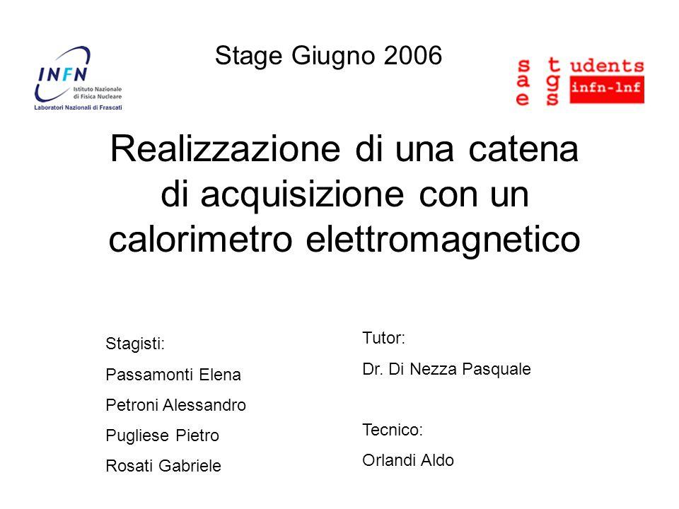 Stage Giugno 2006 Realizzazione di una catena di acquisizione con un calorimetro elettromagnetico Stagisti: Passamonti Elena Petroni Alessandro Pugliese Pietro Rosati Gabriele Tutor: Dr.