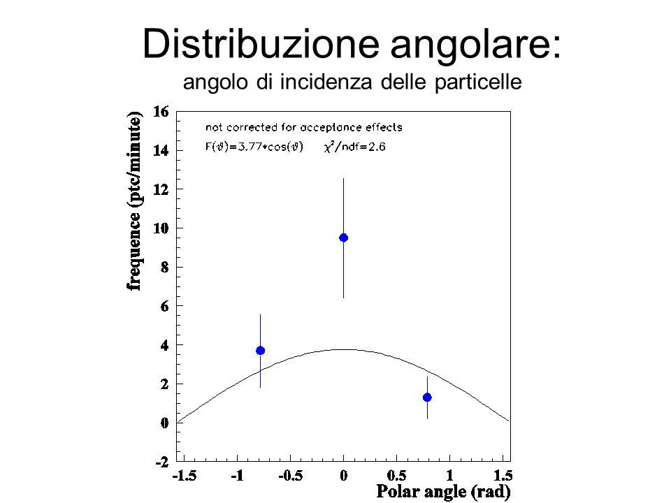 Distribuzione angolare: angolo di incidenza delle particelle