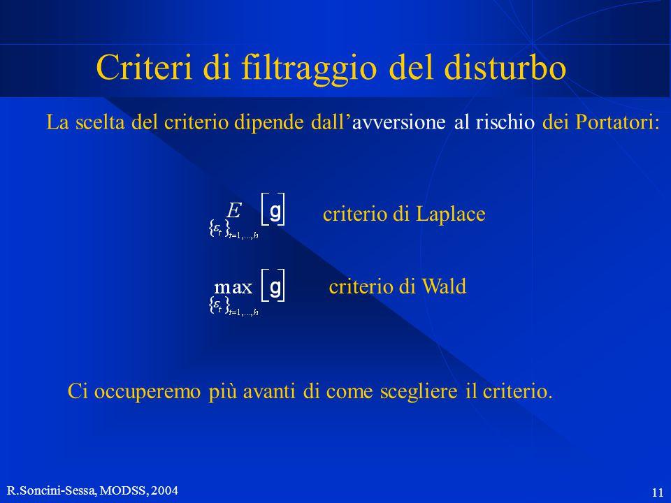 R.Soncini-Sessa, MODSS, 2004 11 Criteri di filtraggio del disturbo La scelta del criterio dipende dall'avversione al rischio dei Portatori: criterio di Laplace criterio di Wald Ci occuperemo più avanti di come scegliere il criterio.