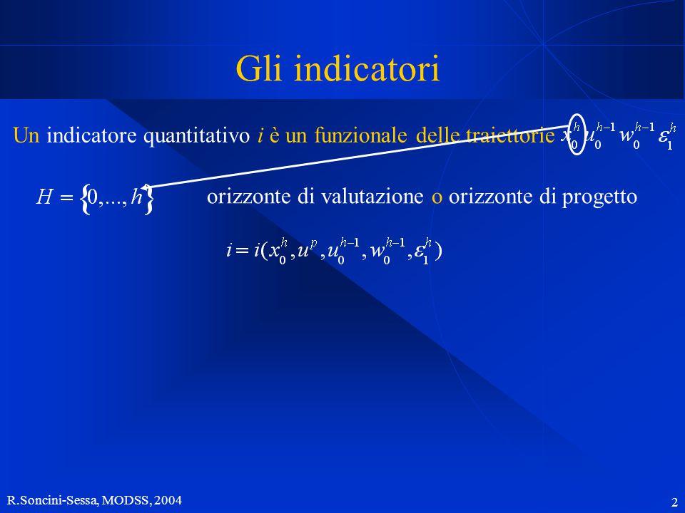 R.Soncini-Sessa, MODSS, 2004 2 Gli indicatori Un indicatore quantitativo i è un funzionale delle traiettorie orizzonte di valutazione o orizzonte di progetto
