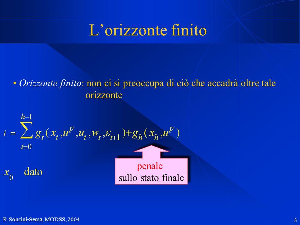R.Soncini-Sessa, MODSS, 2004 3 L'orizzonte finito Orizzonte finito: non ci si preoccupa di ciò che accadrà oltre tale orizzonte penale sullo stato finale penale sullo stato finale
