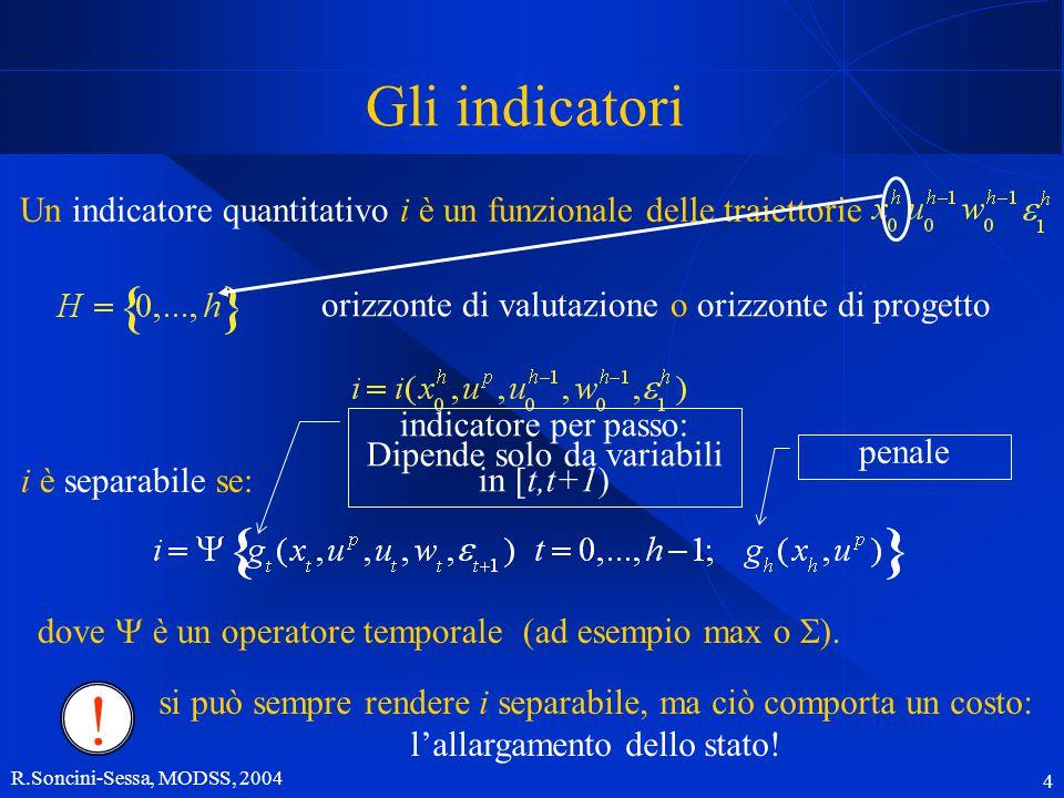 R.Soncini-Sessa, MODSS, 2004 4 Gli indicatori Un indicatore quantitativo i è un funzionale delle traiettorie orizzonte di valutazione o orizzonte di progetto i è separabile se: dove  è un operatore temporale (ad esempio max o  ).