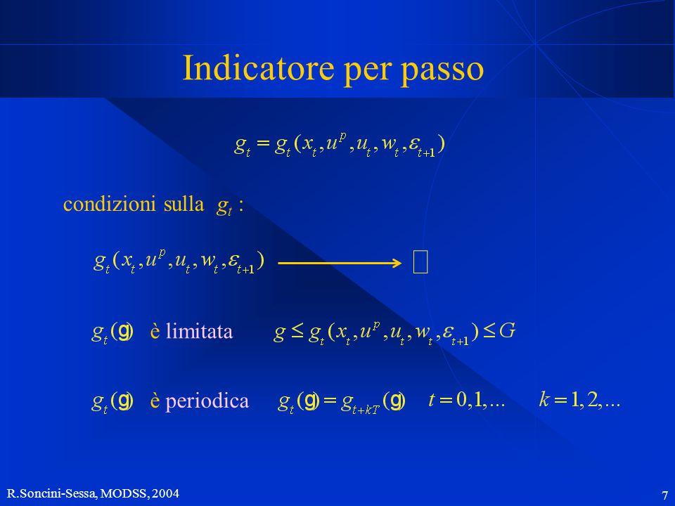 R.Soncini-Sessa, MODSS, 2004 8 Indicatore per passo Può accadere che l'argomento naturale di un indicatore per passo non sia direttamente la tupla ( x t, u p, u t, w t,  t +1 ) livello lacuale Esempio: