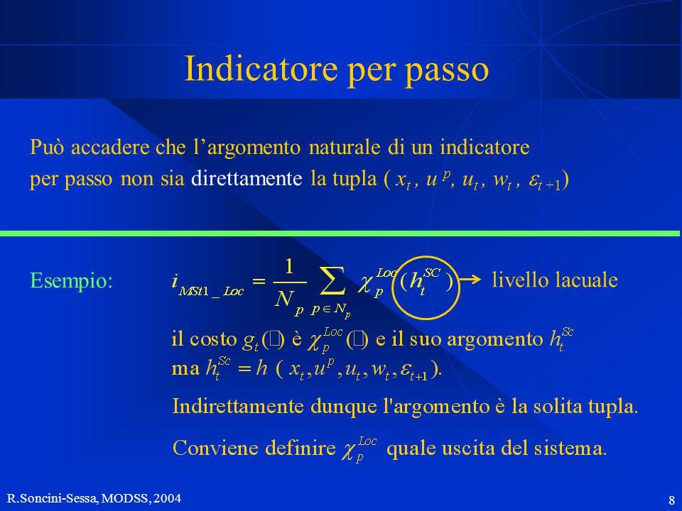 R.Soncini-Sessa, MODSS, 2004 9 Indicatore per passo Possiamo quindi assumere che sia sempre un'uscita del modello di un componente.