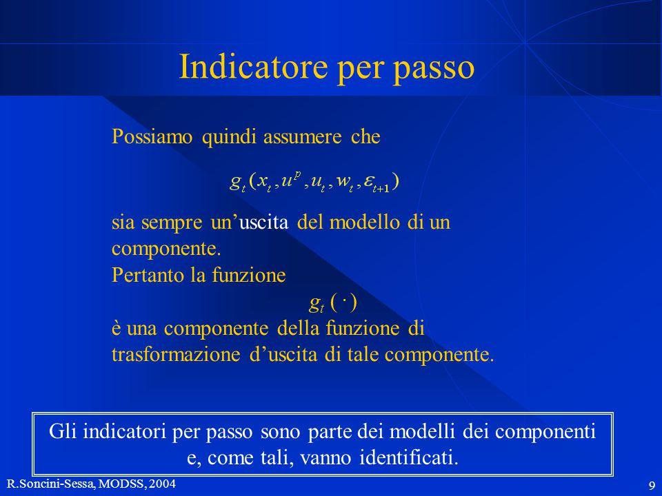 R.Soncini-Sessa, MODSS, 2004 10 Indicatori casuali Tutte le volte che il sistema è affetto da un disturbo casuale  t+1 e g t dipende direttamente o indirettamente (tramite x t e u t ) da esso anche g t è casuale l'indicatore i è casuale e non può essere utilizzato così come è.