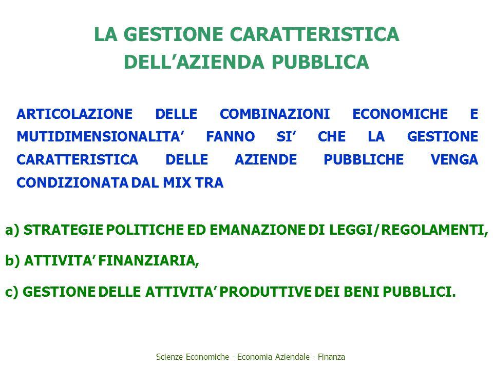 LA GESTIONE CARATTERISTICA DELL'AZIENDA PUBBLICA ARTICOLAZIONE DELLE COMBINAZIONI ECONOMICHE E MUTIDIMENSIONALITA' FANNO SI' CHE LA GESTIONE CARATTERISTICA DELLE AZIENDE PUBBLICHE VENGA CONDIZIONATA DAL MIX TRA a) STRATEGIE POLITICHE ED EMANAZIONE DI LEGGI/REGOLAMENTI, b) ATTIVITA' FINANZIARIA, c) GESTIONE DELLE ATTIVITA' PRODUTTIVE DEI BENI PUBBLICI.