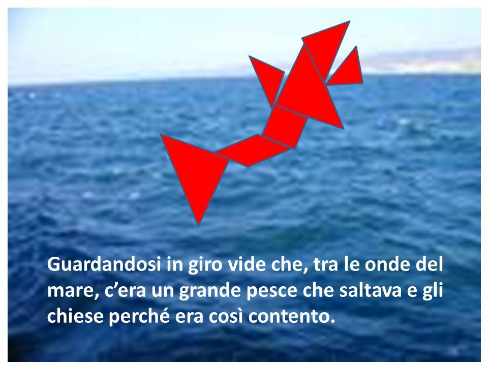 Guardandosi in giro vide che, tra le onde del mare, c'era un grande pesce che saltava e gli chiese perché era così contento.