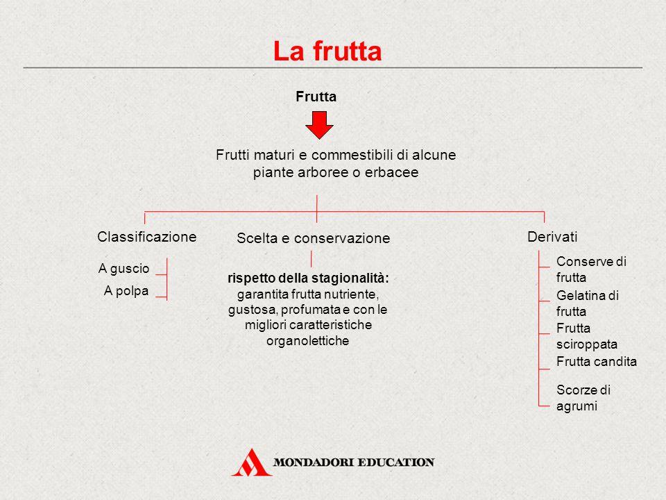 La frutta Frutta Classificazione A guscio A polpa Derivati Conserve di frutta Gelatina di frutta Frutta sciroppata Frutti maturi e commestibili di alc