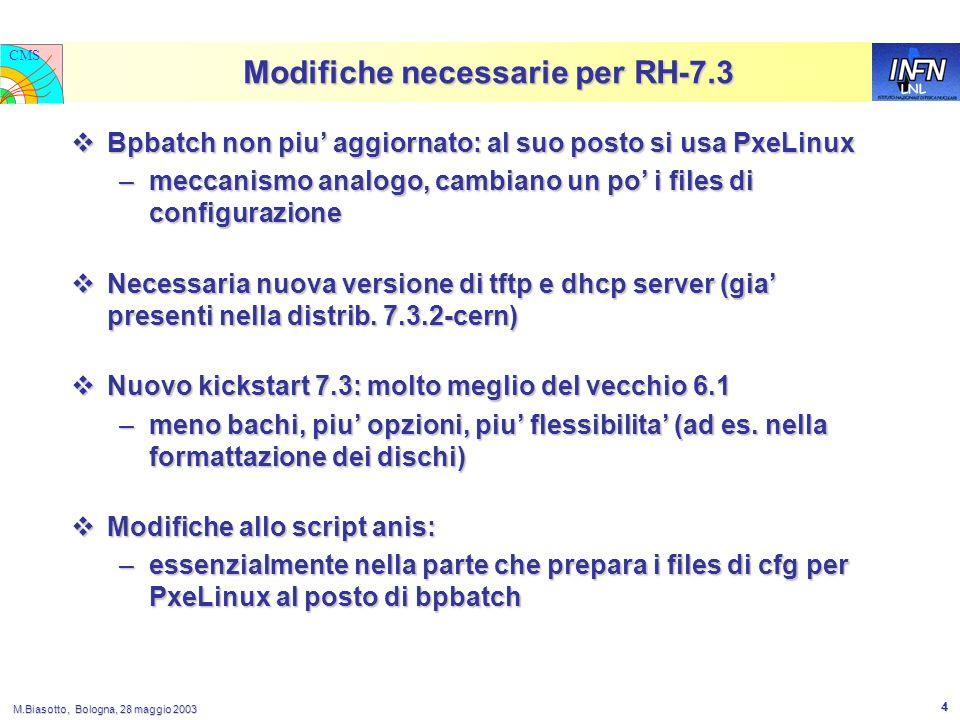 LNL CMS M.Biasotto, Bologna, 28 maggio 2003 4 Modifiche necessarie per RH-7.3  Bpbatch non piu' aggiornato: al suo posto si usa PxeLinux –meccanismo analogo, cambiano un po' i files di configurazione  Necessaria nuova versione di tftp e dhcp server (gia' presenti nella distrib.