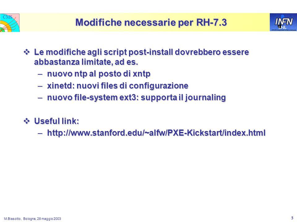 LNL CMS M.Biasotto, Bologna, 28 maggio 2003 5 Modifiche necessarie per RH-7.3  Le modifiche agli script post-install dovrebbero essere abbastanza limitate, ad es.