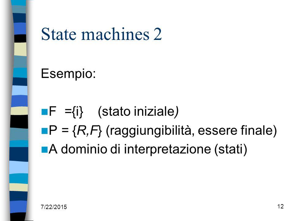 State machines 2 Esempio: F ={i} (stato iniziale) P = {R,F} (raggiungibilità, essere finale) A dominio di interpretazione (stati) 7/22/2015 12