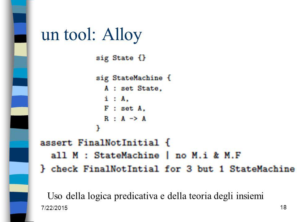 un tool: Alloy 7/22/2015 18 Uso della logica predicativa e della teoria degli insiemi