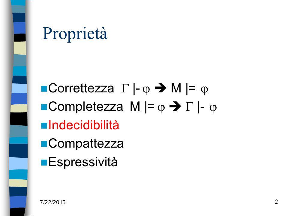 Correttezza  |-   M |=  Completezza M |=    |-  Indecidibilità Compattezza Espressività 7/22/2015 2 Proprietà