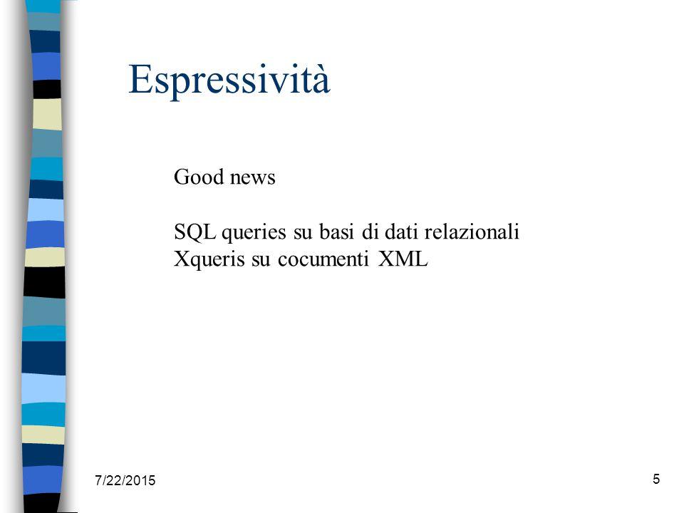 7/22/2015 5 Espressività Good news SQL queries su basi di dati relazionali Xqueris su cocumenti XML