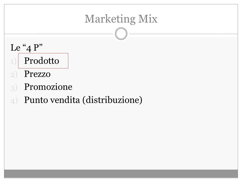Marketing Mix Le 4 P 1) Prodotto 2) Prezzo 3) Promozione 4) Punto vendita (distribuzione)
