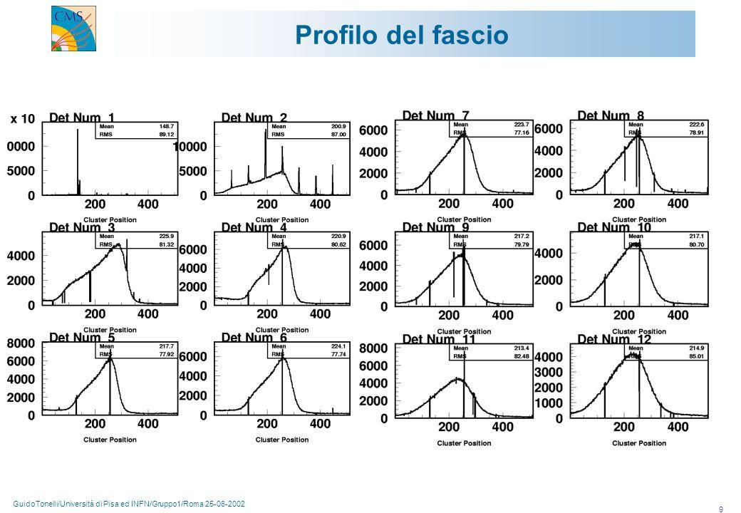 GuidoTonelli/Università di Pisa ed INFN/Gruppo1/Roma 25-06-2002 9 Profilo del fascio