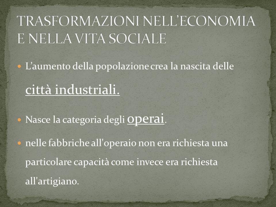 L'aumento della popolazione crea la nascita delle città industriali.