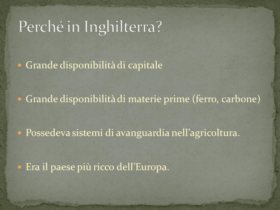 Grande disponibilità di capitale Grande disponibilità di materie prime (ferro, carbone) Possedeva sistemi di avanguardia nell'agricoltura.