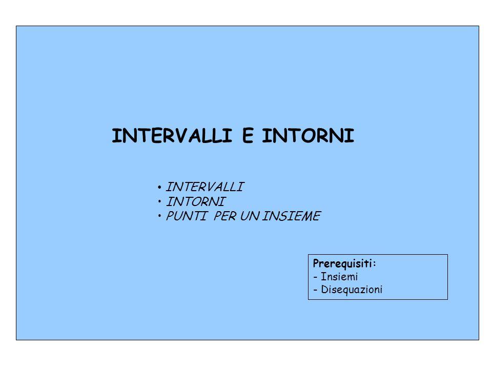 INTERVALLI INTORNI PUNTI PER UN INSIEME INTERVALLI E INTORNI Prerequisiti: - Insiemi - Disequazioni