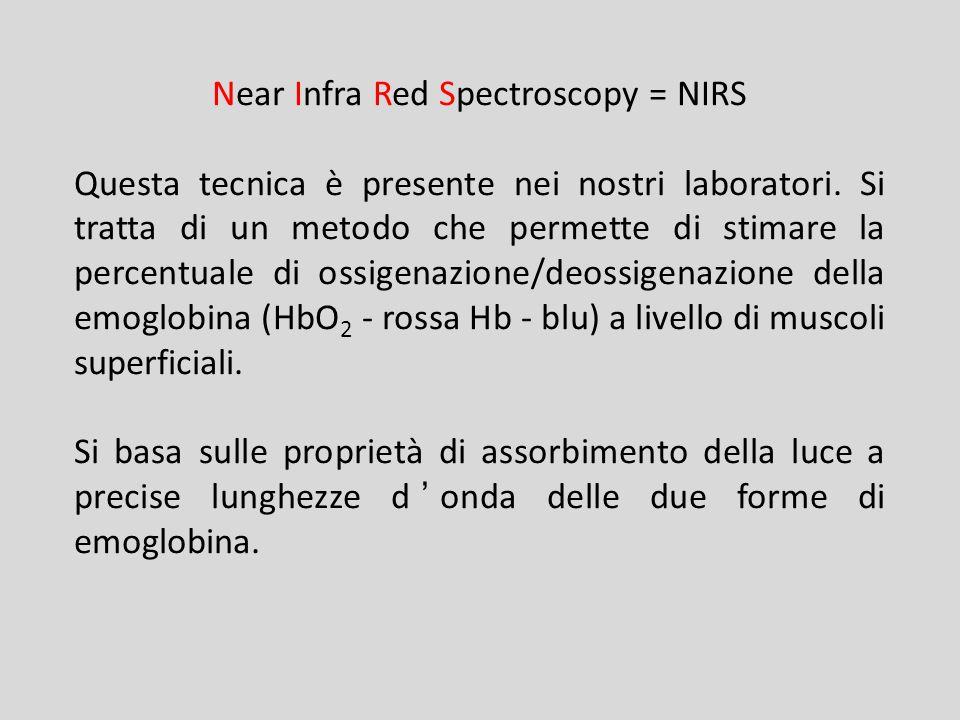 Near Infra Red Spectroscopy = NIRS Questa tecnica è presente nei nostri laboratori. Si tratta di un metodo che permette di stimare la percentuale di o
