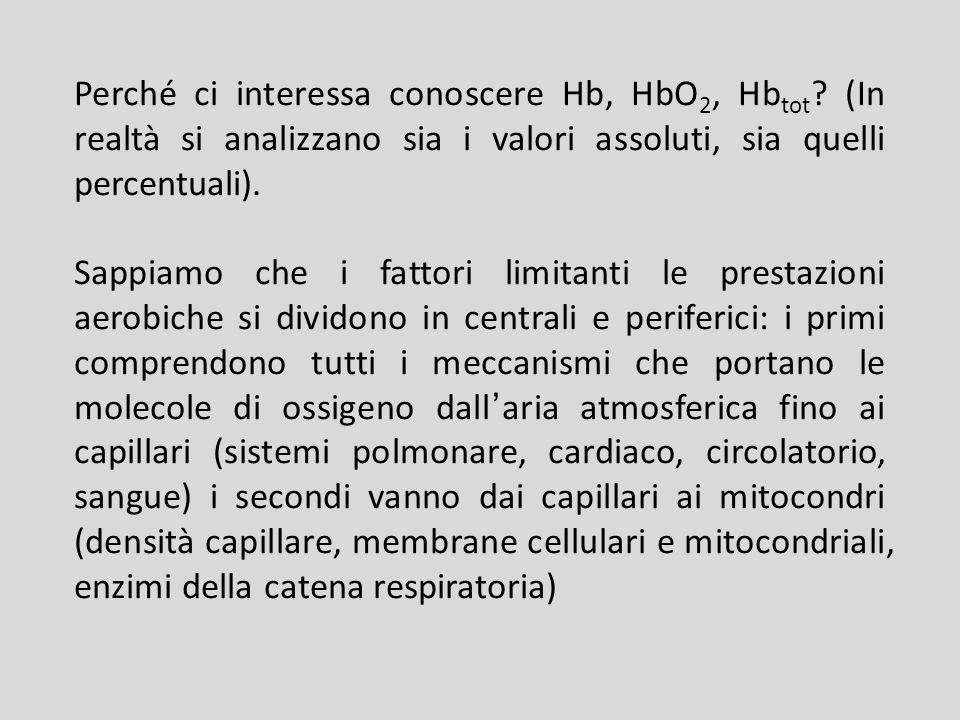 Perché ci interessa conoscere Hb, HbO 2, Hb tot ? (In realtà si analizzano sia i valori assoluti, sia quelli percentuali). Sappiamo che i fattori limi