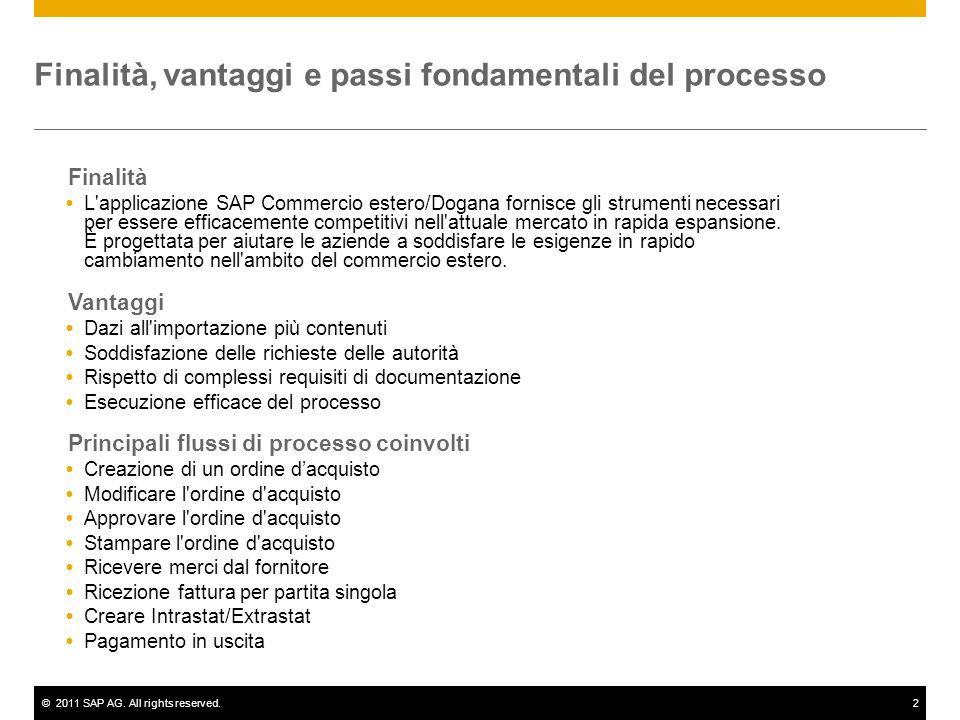 ©2011 SAP AG. All rights reserved.2 Finalità  L'applicazione SAP Commercio estero/Dogana fornisce gli strumenti necessari per essere efficacemente co