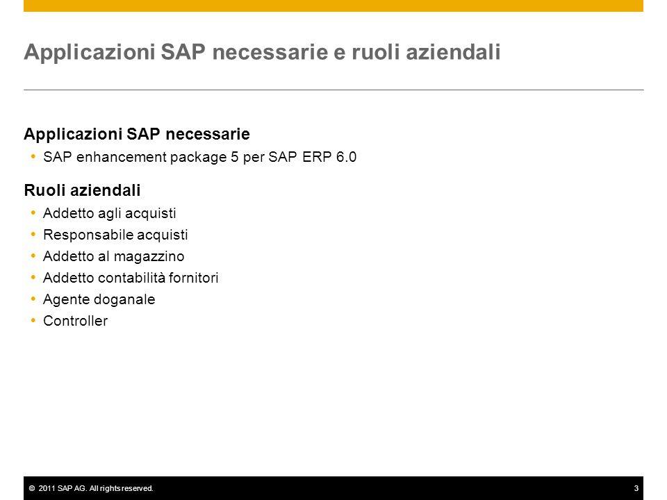 ©2011 SAP AG. All rights reserved.3 Applicazioni SAP necessarie e ruoli aziendali Applicazioni SAP necessarie  SAP enhancement package 5 per SAP ERP