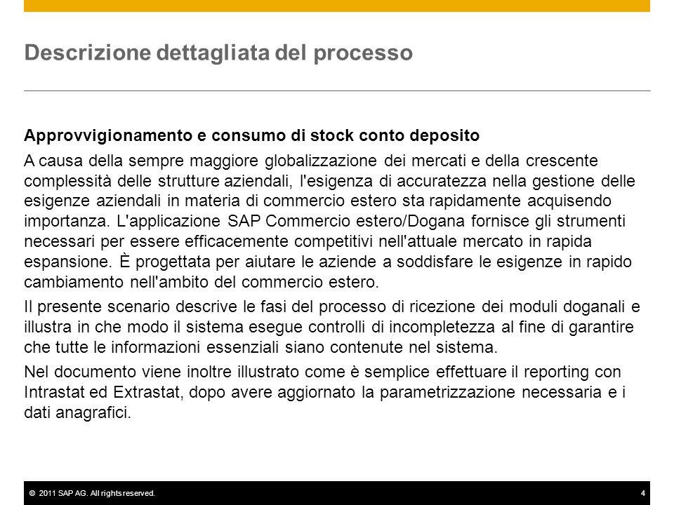 ©2011 SAP AG. All rights reserved.4 Descrizione dettagliata del processo Approvvigionamento e consumo di stock conto deposito A causa della sempre mag