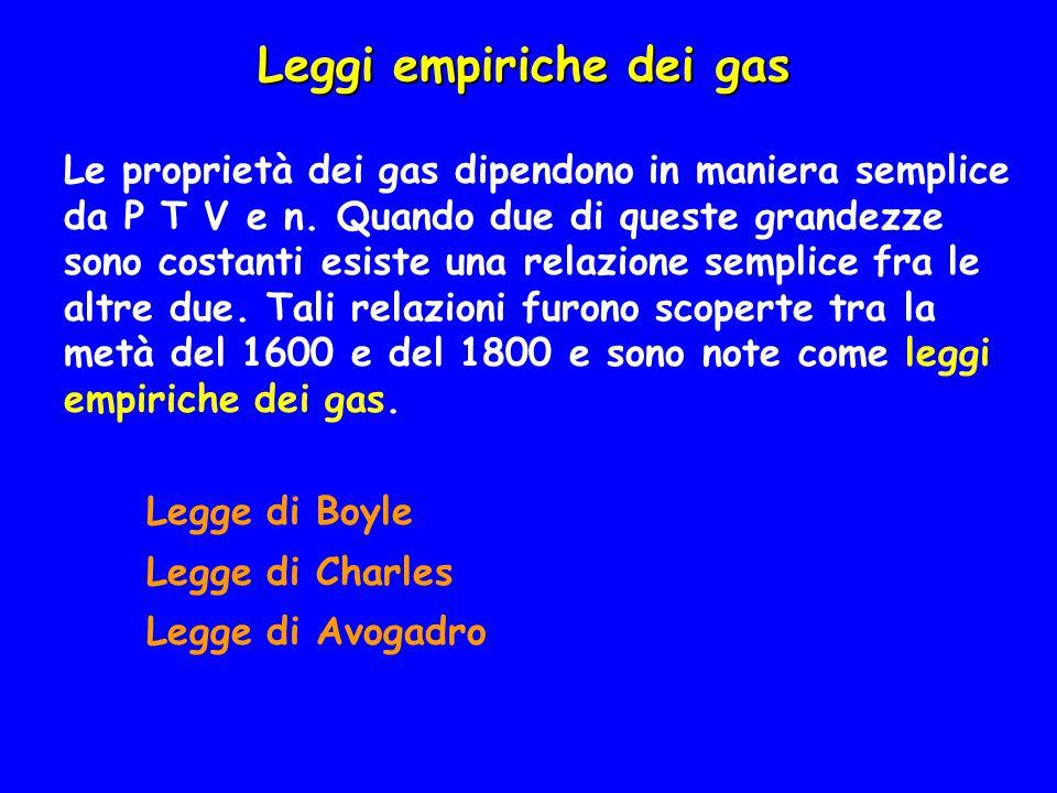 TEORIA CINETICA DEI GAS La legge dei gas ideali riassume certe proprietà fisiche dei gas a basse pressioni.