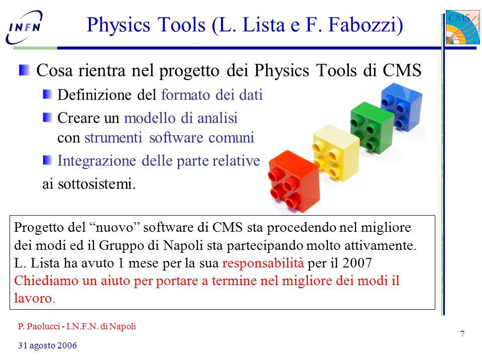P. Paolucci - I.N.F.N. di Napoli 7 31 agosto 2006 Physics Tools (L.