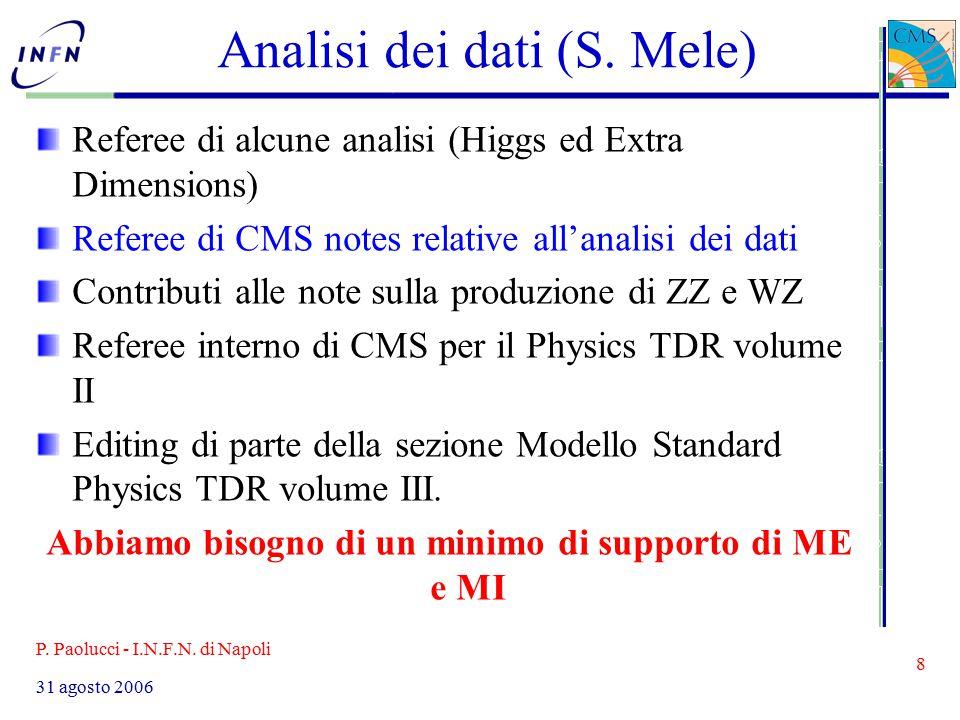 P. Paolucci - I.N.F.N. di Napoli 8 31 agosto 2006 Analisi dei dati (S.