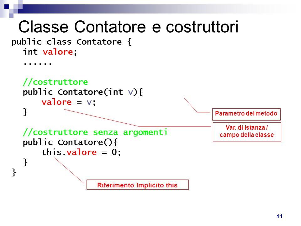11 Classe Contatore e costruttori public class Contatore { int valore;...... //costruttore public Contatore(int v){ valore = v; } //costruttore senza