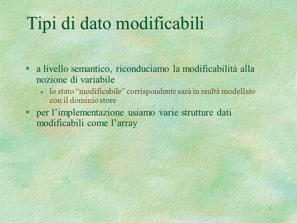 1 Tipi di dato modificabili §a livello semantico, riconduciamo la modificabilità alla nozione di variabile l lo stato modificabile corrispondente sarà in realtà modellato con il dominio store §per l'implementazione usiamo varie strutture dati modificabili come l'array