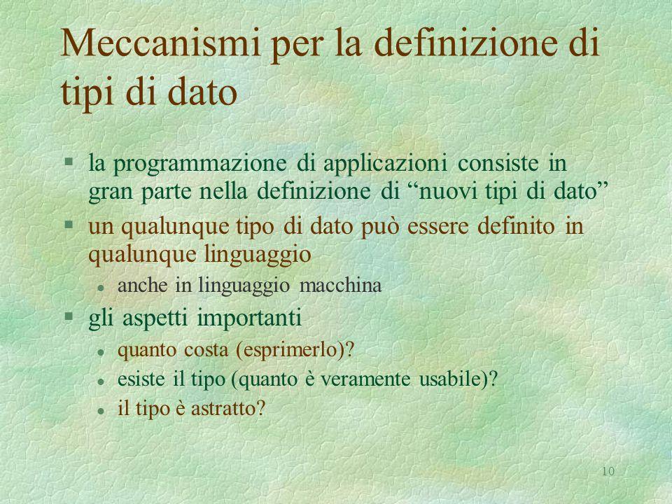 10 Meccanismi per la definizione di tipi di dato §la programmazione di applicazioni consiste in gran parte nella definizione di nuovi tipi di dato §un qualunque tipo di dato può essere definito in qualunque linguaggio l anche in linguaggio macchina §gli aspetti importanti l quanto costa (esprimerlo).