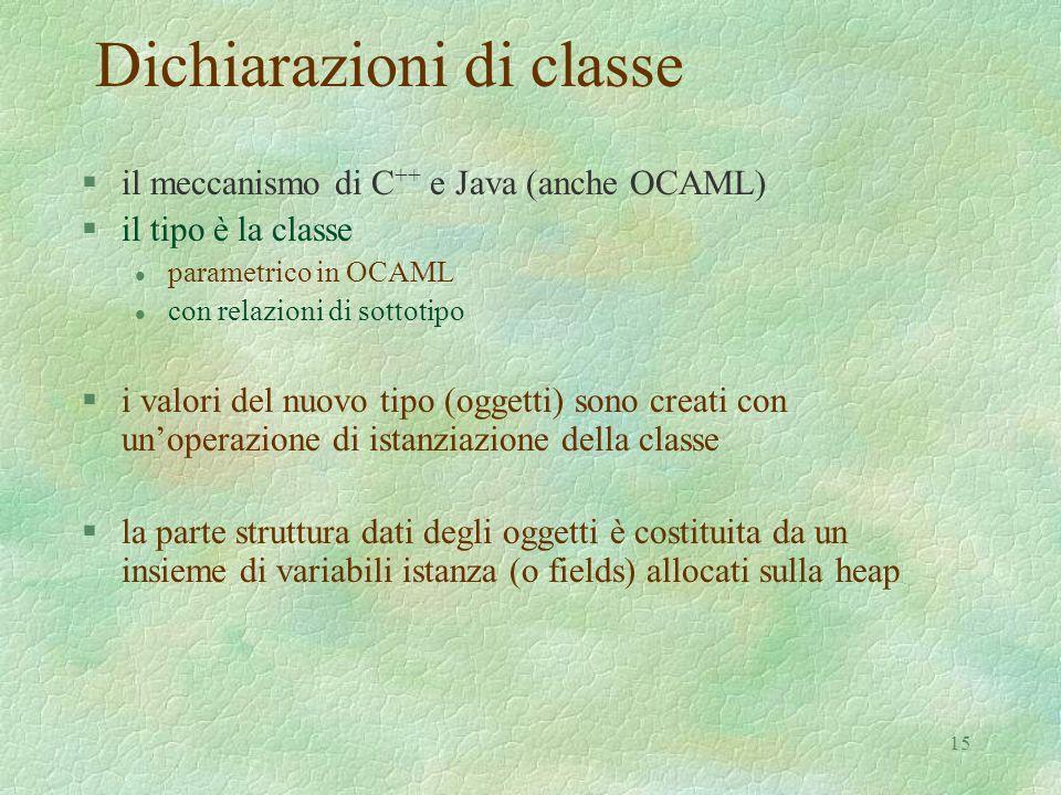 15 Dichiarazioni di classe §il meccanismo di C ++ e Java (anche OCAML) §il tipo è la classe l parametrico in OCAML l con relazioni di sottotipo §i val