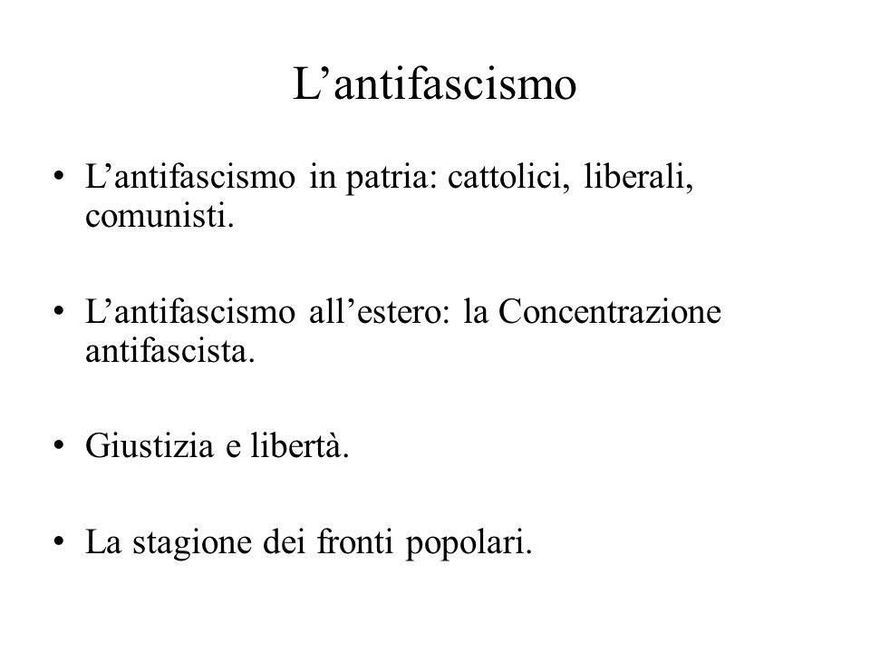 L'antifascismo L'antifascismo in patria: cattolici, liberali, comunisti. L'antifascismo all'estero: la Concentrazione antifascista. Giustizia e libert