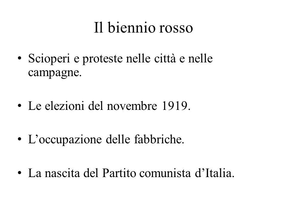 Il biennio rosso Scioperi e proteste nelle città e nelle campagne. Le elezioni del novembre 1919. L'occupazione delle fabbriche. La nascita del Partit