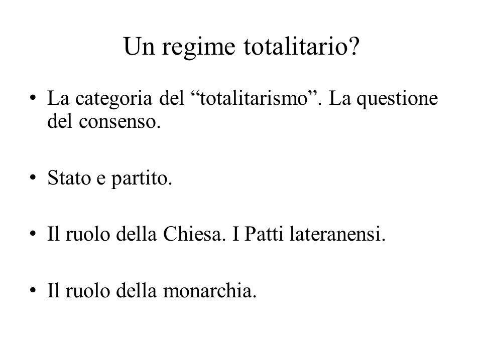 """Un regime totalitario? La categoria del """"totalitarismo"""". La questione del consenso. Stato e partito. Il ruolo della Chiesa. I Patti lateranensi. Il ru"""