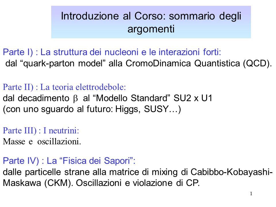 1 Introduzione al Corso: sommario degli argomenti Parte IV) : La Fisica dei Sapori : dalle particelle strane alla matrice di mixing di Cabibbo-Kobayashi- Maskawa (CKM).