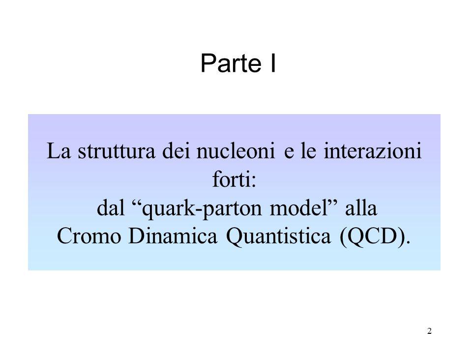 2 La struttura dei nucleoni e le interazioni forti: dal quark-parton model alla Cromo Dinamica Quantistica (QCD).