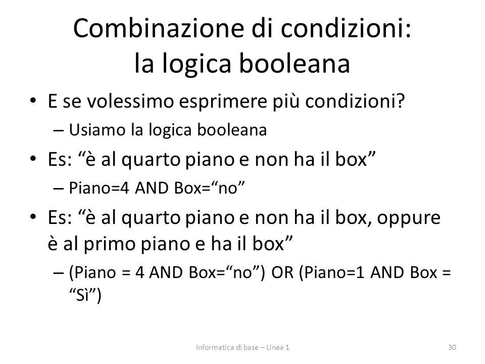 Combinazione di condizioni: la logica booleana E se volessimo esprimere più condizioni.