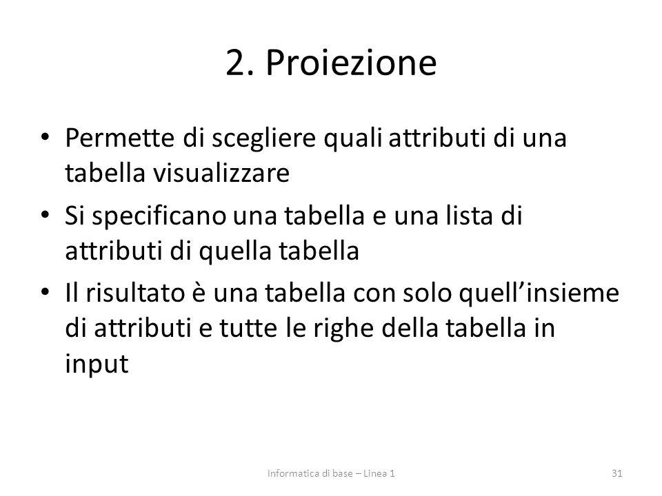 2. Proiezione Permette di scegliere quali attributi di una tabella visualizzare Si specificano una tabella e una lista di attributi di quella tabella