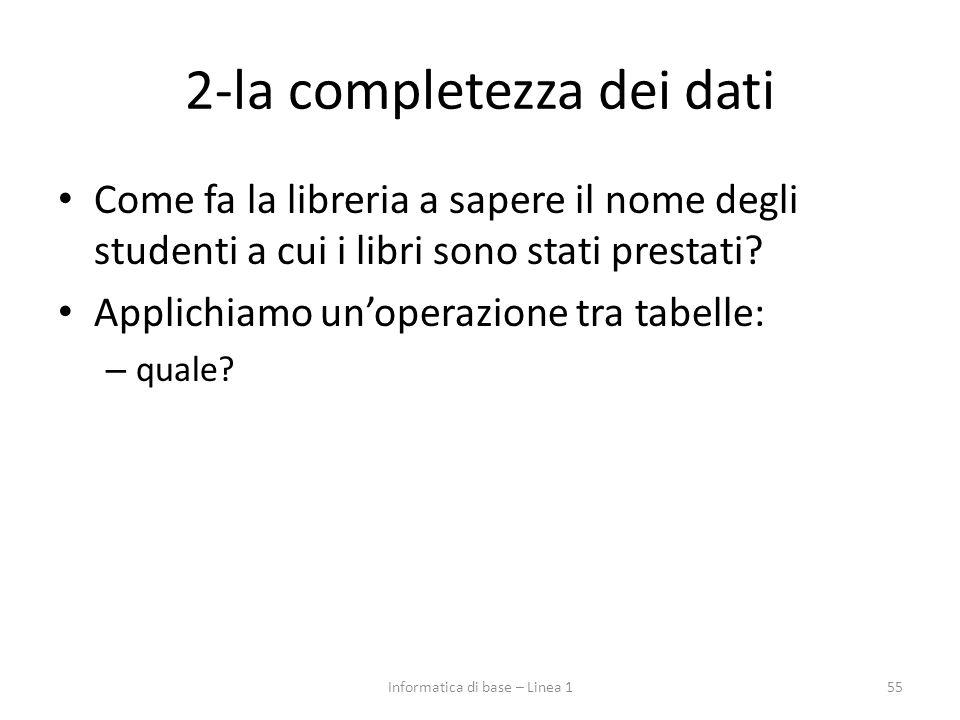 2-la completezza dei dati Come fa la libreria a sapere il nome degli studenti a cui i libri sono stati prestati.