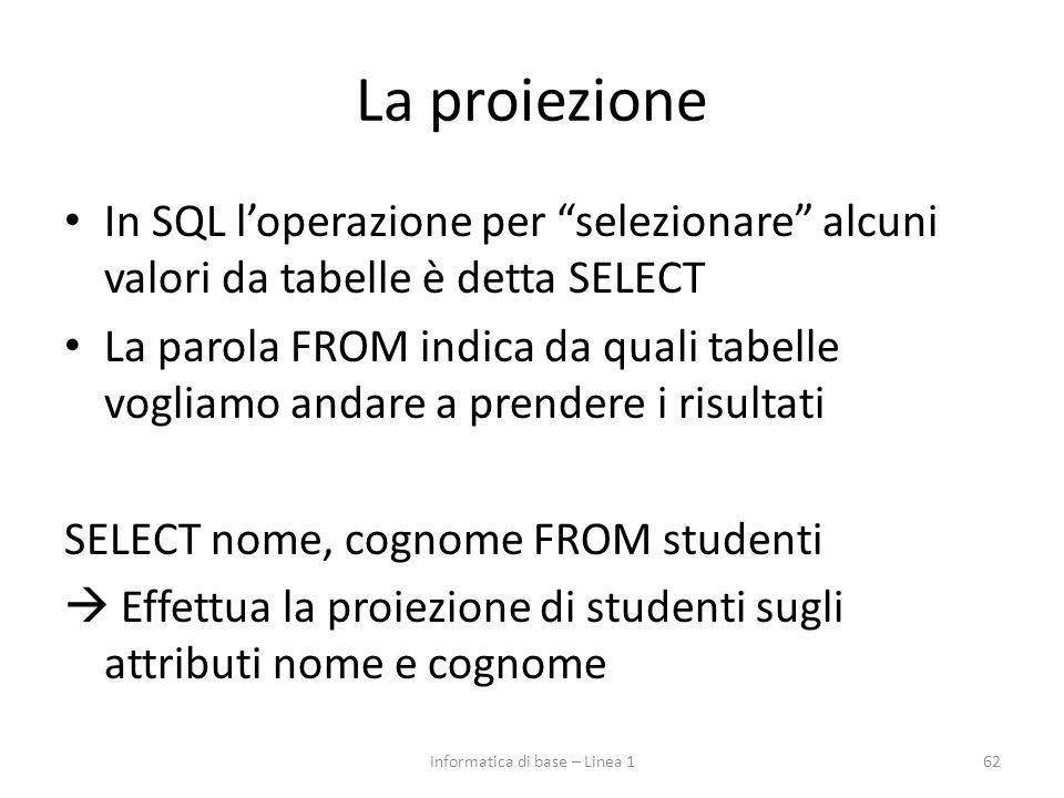 La proiezione In SQL l'operazione per selezionare alcuni valori da tabelle è detta SELECT La parola FROM indica da quali tabelle vogliamo andare a prendere i risultati SELECT nome, cognome FROM studenti  Effettua la proiezione di studenti sugli attributi nome e cognome 62Informatica di base – Linea 1